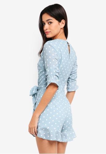 db95ec61c4ce Buy MDSCollections Nolana Ruffle Romper In Ash Blue Polka Dots Online