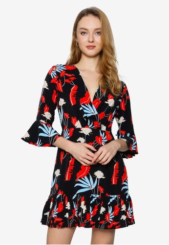 Saturday Club black Floral Wrap Dress With Pleated Hem A5095AAB1F748CGS_1