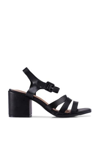 Rubi black Poppy Triple Strap Block Heels BACF9SH3C3ECA9GS_1