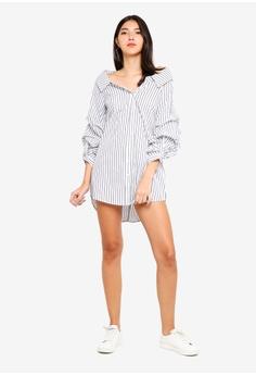 3b855b263a 10% OFF Kitschen Off Shoulder Striped Shirt Dress RM 79.90 NOW RM 71.91  Sizes M