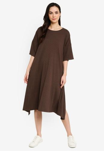 niko and ... brown Ribbed Knit Dress 6DADDAA9F3C252GS_1