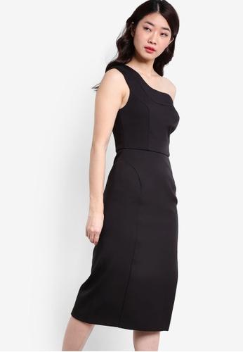 TOPSHOP black Scallop One Shoulder Dress TO412AA86JFDMY_1