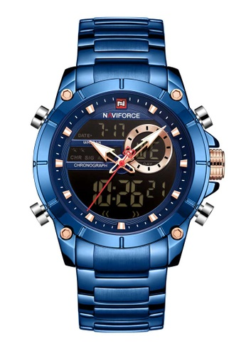 NAVIFORCE blue Naviforce Rose Gold and Blue Stainless Steel Watch 3AAB4AC6F04056GS_1