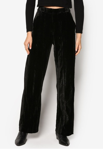 TOPSHOP black Velvet Wide Leg Trousers TO412AA86ADTMY_1
