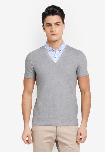 G2000 grey 2- in-1 Stroke Print Shirt Collar Polo Shirt B0727AA0F1669CGS_1