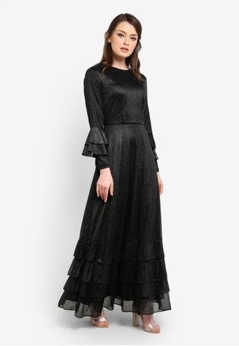 Zalia black Metallic Mesh Frill Hem Dress 725BCAAA2DFC93GS_1
