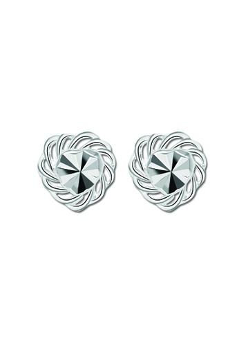 SC Tom Silver silver Heart with flower wrap Stud Earring SC872AC80TALPH_1
