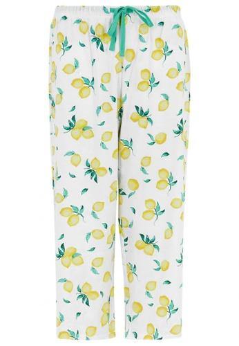 MARKS & SPENCER multi Cotton Lemon Print Cropped Pyjama Bottoms C739BAA3BCAAF6GS_1