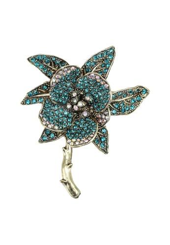 Red's Revenge green Exotic Floral Diamante Brooch 165E0ACA852D12GS_1