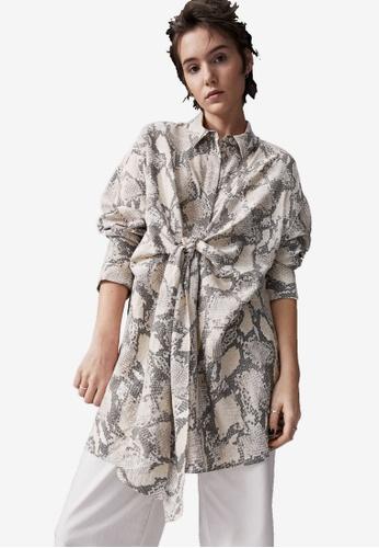 H&M multi and beige Long Tie-Detail Shirt 7D673AA0816087GS_1