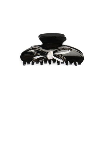 Glamorousky white Fashion and Elegant Ribbon Black Hair Claw with Cubic Zirconia AB0CAAC9E9141DGS_1