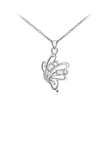 Glamorousky white Fashion Elegant Butterfly Pendant with White Cubic Zircon and Necklace 934AAAC041D8CEGS_1