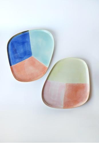 Your Lagom multi Tri-coloured Rainbow Plate Set of 2 8B326HLF39714CGS_1
