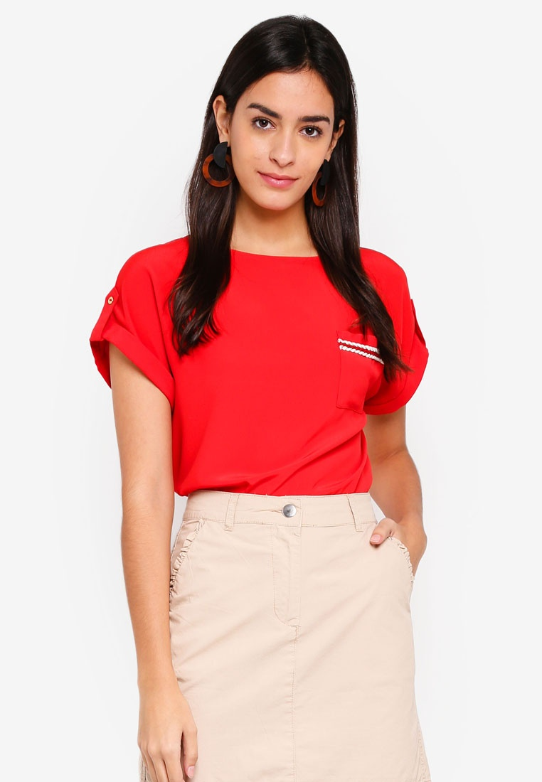 Trim Tee Perkins Pocket Dorothy Red Red wRSExnIq6