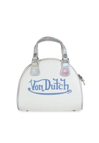 Von Dutch white and multi and silver Von Dutch Hologram Small Bowling Bag 8E27EAC19B1E0FGS_1
