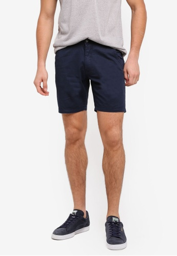 "ZALORA navy 7"" Garment Washed Shorts With Flap Pockets 8CC36AA05D9C35GS_1"
