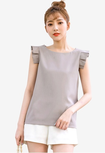 Tokichoi grey Pleated Detail Sleeveless Blouse 3128DAAD64CE69GS_1