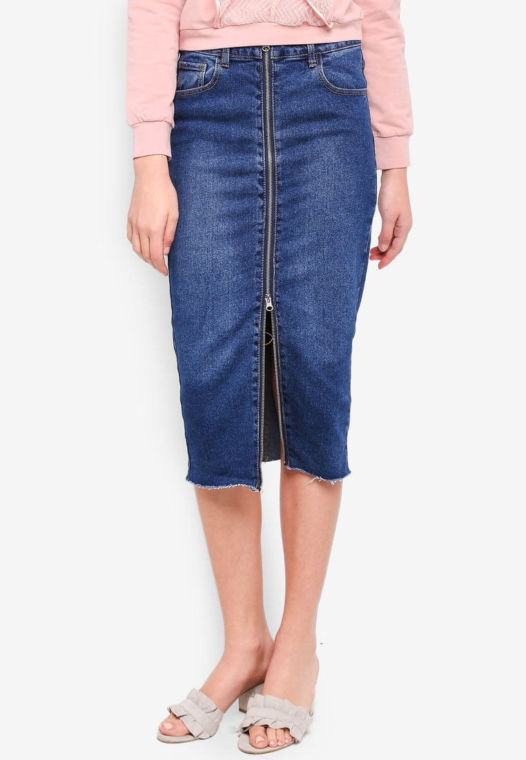 Skirt LOST Through INK Mid Denim Denim Zip Pencil XXfqpz