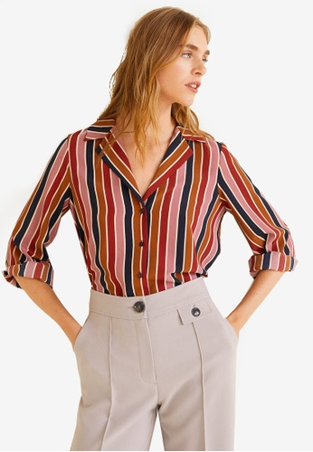 MANGO multi Multicolor Striped Shirt 86410AAC415F96GS_1