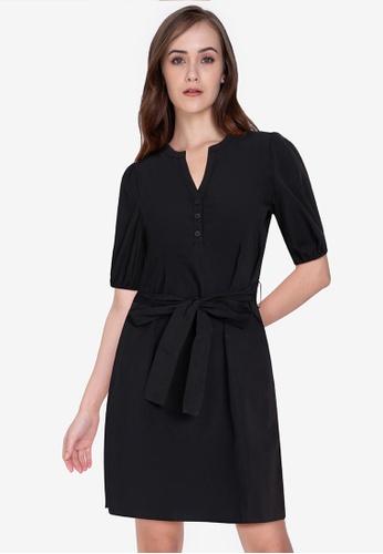 ZALORA WORK black Notch Neck Puff Sleeves Dress 9CB42AA6D08E23GS_1
