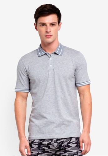 UniqTee grey Slim Fit Tramline Polo Shirt 3FFB3AA5CCC4A9GS_1