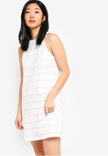 Something Borrowed white Cotton Eyelet Cut In Shift Dress EA1D7AA8D2747DGS_1