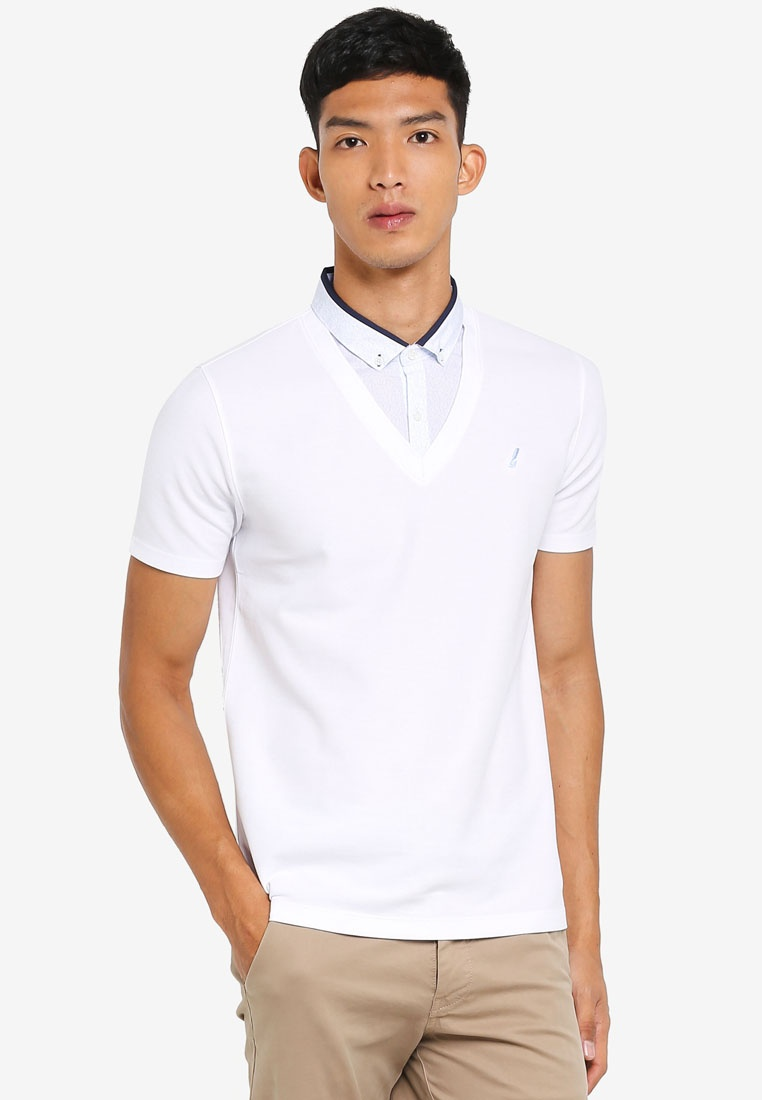 G2000 1 White Shirt Collar Printed in 2 Shirt Polo 0qvTW5w