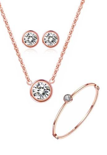 CELOVIS gold CELOVIS - Lux Classic Zirconia Bezel Solitaire Pendant Necklace + Earrings + Bangle Set (ROSE GOLD) 6D68CACC1AB45CGS_1