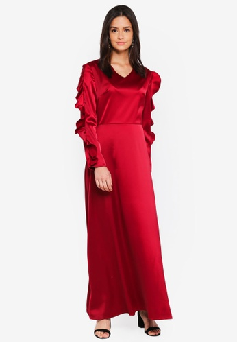 Zalia red Frill Sleeves Maxi Dress 6FC48AA793C7F9GS_1