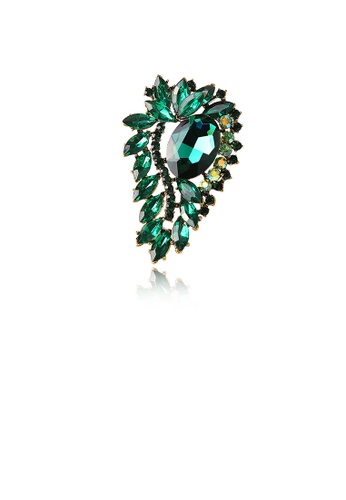 Glamorousky green Fashion and Elegant Plated Gold Geometric Pattern Brooch with Green Cubic Zirconia C6B14ACC2789F9GS_1