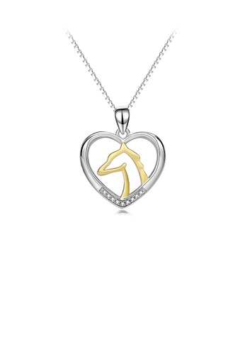 Glamorousky white 925 Sterling Silver Fashion Temperament Golden Horse Head Heart Pendant with Cubic Zirconia and Necklace 681BCAC3610648GS_1