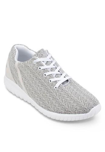 白色細紋印花繫帶運動鞋, 鞋, esprit 京站運動鞋