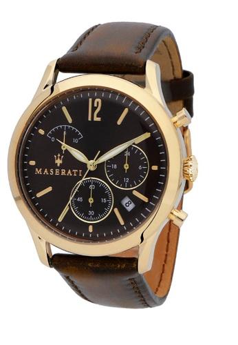 Maserati brown Maserati Tradizione Brown Leather Quartz Chronograph Watches R8871625001 0E0EBAC6200E2AGS_1