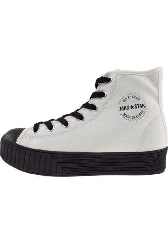 Maxstar 白色 新款韩国鞋C30-7H-Solid時尚帆布布混合女白色 US Women Size MA345SH92HFBTW_1