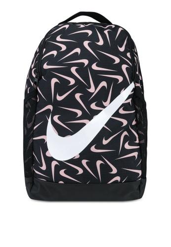 Nike black Brasilia Kid's Printed Backpack D5EF7KC9944F87GS_1