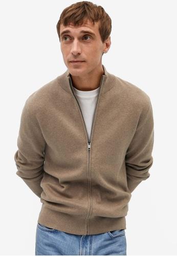 MANGO Man brown Zipper Cotton Cashmere Cardigan 4B638AA7002A6FGS_1