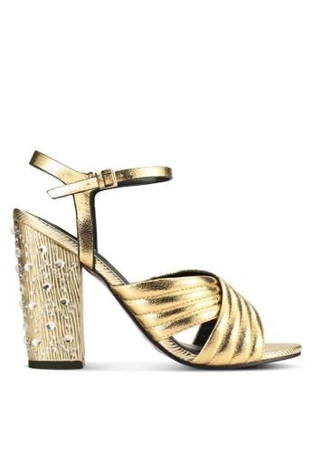 Miss Selfridge silver City Gold Block Heels MI665SH42TUBMY_1