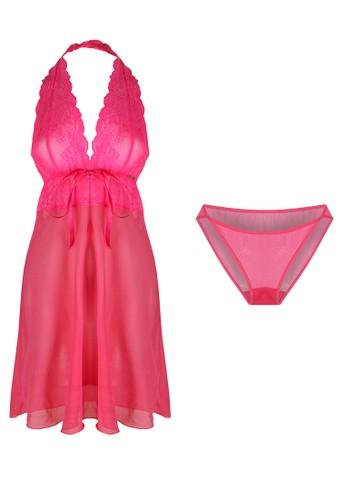 LAVABRA Intimates pink Italian Lace Halter Lingerie Set LA387US59BJCID_1