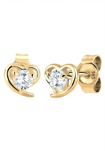 Elli Germany white Perhiasan Wanita Emas Asli 585 (14K) Anting Heart Zirconia Putih EL948AC31RAYID_1