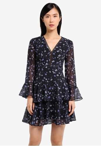 ZALORA black Mini Dress With Ruffle And Fagotting 4CF66AA3363A6EGS_1