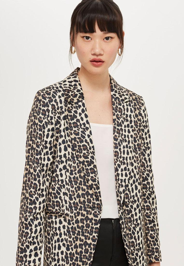 Brown Leopard TOPSHOP Print Suit Jacket Brown UHUWnO6x
