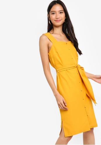 ZALORA yellow Button Down Midi Dress 657A5AA465058BGS_1