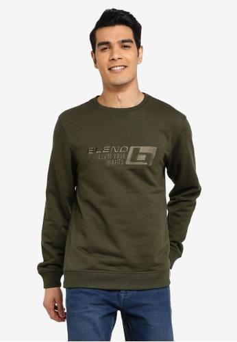 BLEND green Embossed Logo Sweatshirt B24C2AA94B9AADGS_1