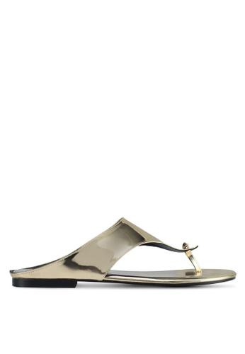 Rizalman for Zalora gold Candra Men Patent Sandals RI909SH0SF0QMY_1