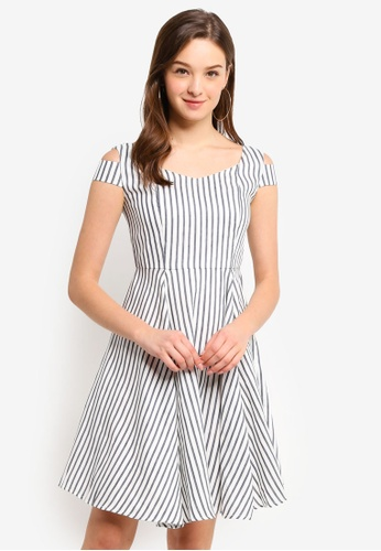 Hopeshow navy Wide Collar Striped Midi Dress 89BA0AACAE11B3GS_1
