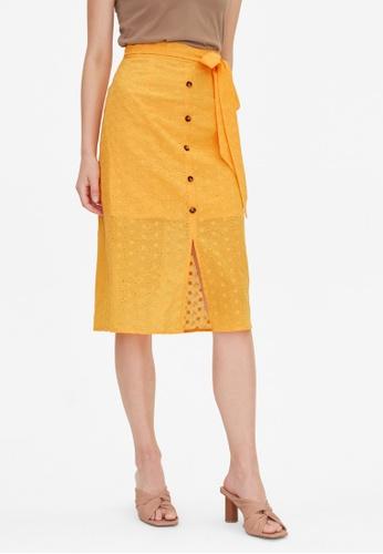 Pomelo orange Eyelet Center Slit Skirt - Orange 37A0EAA97C54F8GS_1