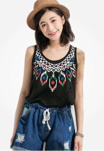 Sesura black Dreamcatcher Folkish Cotton Tee D921EAAE98041FGS_1