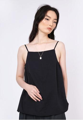 SALIENT LABEL black Nikko Square Neckline Cami Top in Tricorn Black CBE23AAD56ACD2GS_1