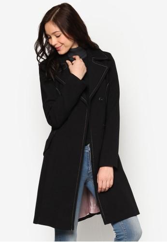 撞色縫線繫帶大衣、 服飾、 外套MissSelfridge撞色縫線繫帶大衣最新折價