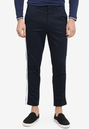 Topman blue Stripe Skinny Cropped Trousers A2365AA237759EGS_1